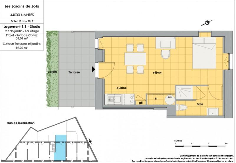 Appartement Studio - 1er étage - LOT 1.1 - Les Jardins de Zola ...