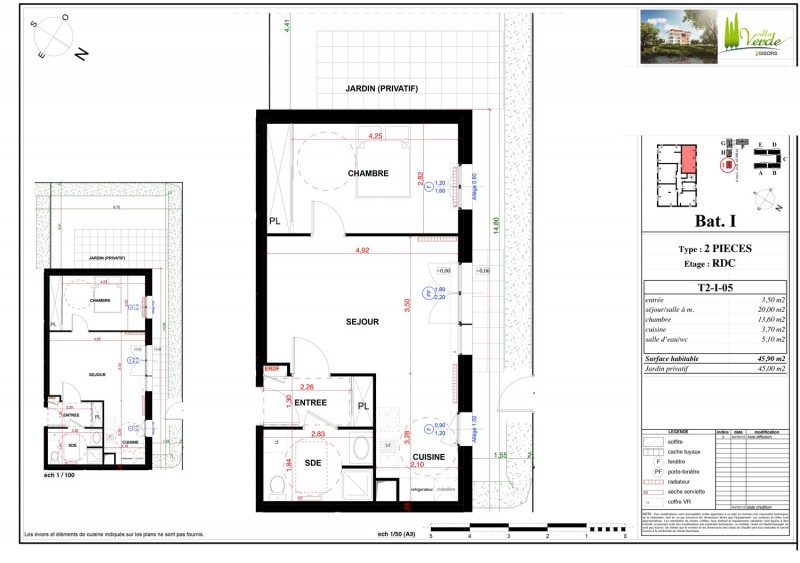 Appartement t2 rdc lot 05 villa verde gisors for Vente appartement rdc