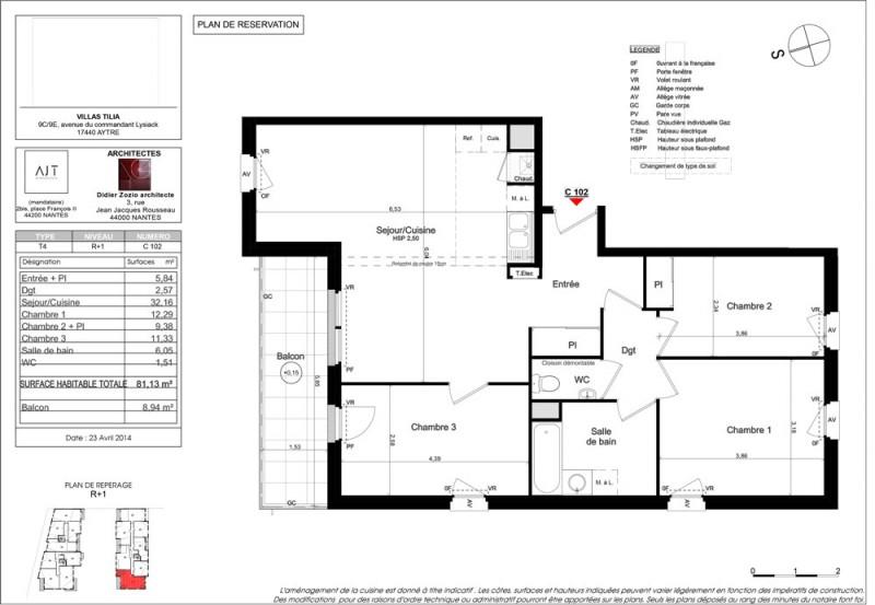 appartement t4 r 1 lot c102 villas tilia aytr charente maritime supinvest. Black Bedroom Furniture Sets. Home Design Ideas