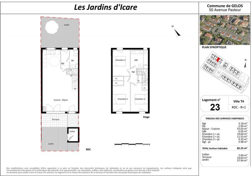 Maison T4 - RDC R+1 - LOT Lot 23 - Les Jardins d Icare - Gelos ... 27aec2383ec